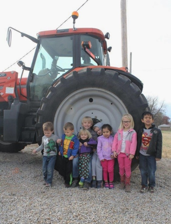 Children learn about tractor safety during Farm Safety Week.